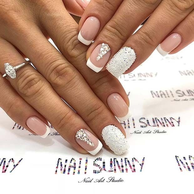 43 Pretty Nail Art Designs For Short Acrylic Nails Wedding Nails Design Pretty Nail Art Nail Art Designs
