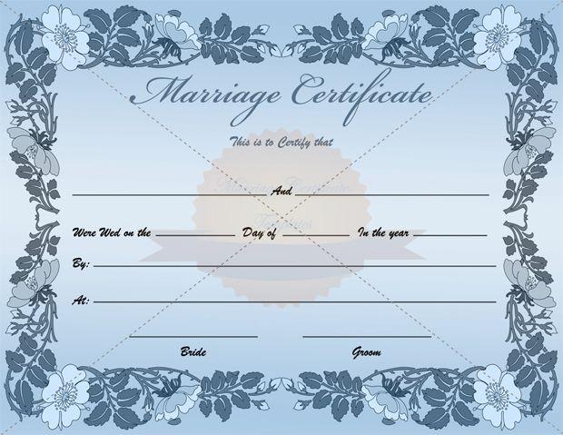 Fake Blank Marriage Certificate Template - blank certificate template