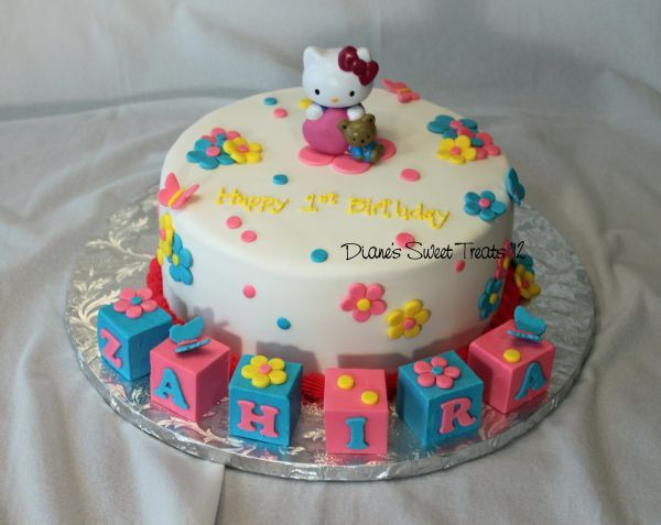 first birthday Hello Kitty Hello kitty cake Kitty cake and