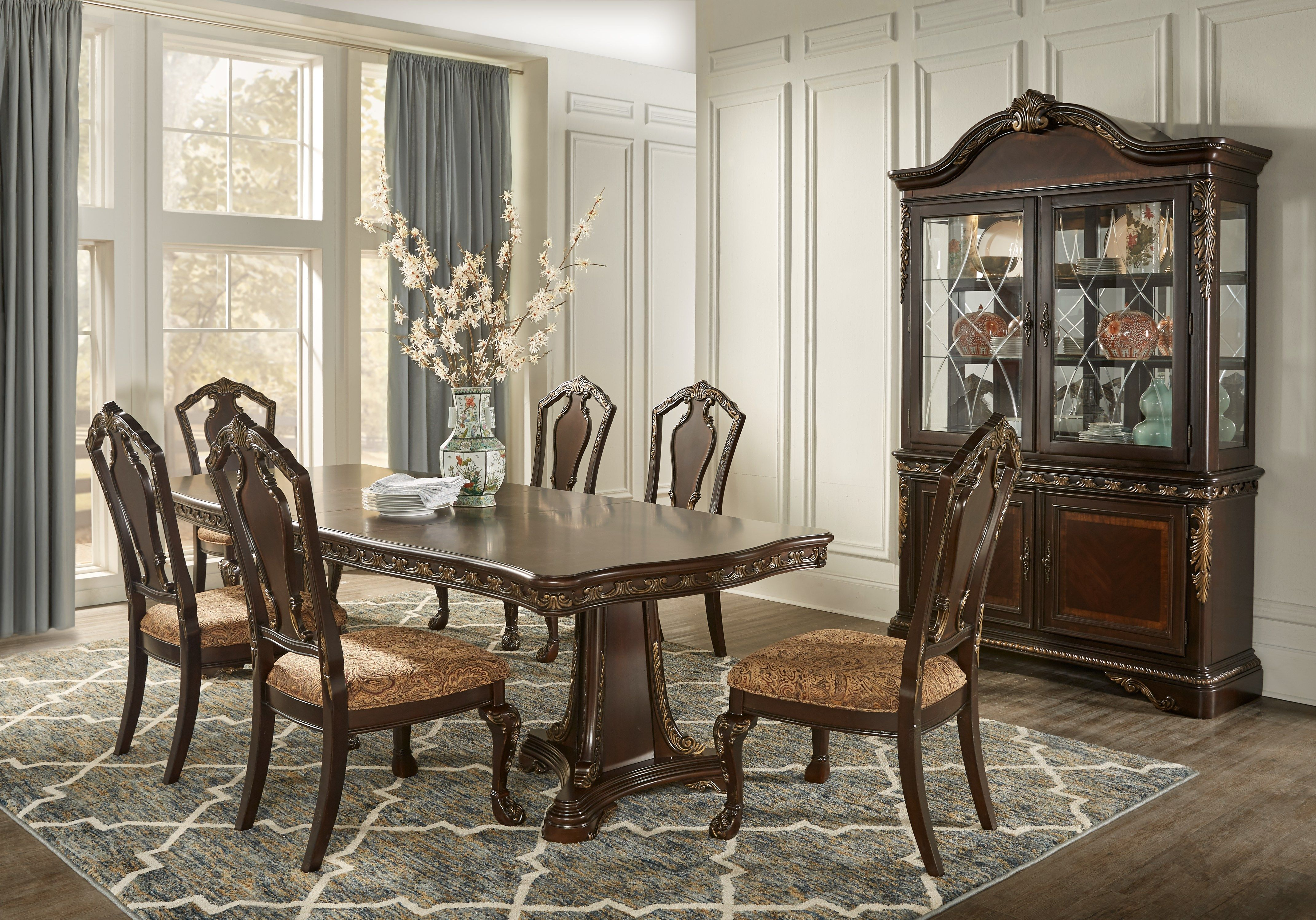 Aylesbury Brown Cherry 5 Pc Rectangle Dining Room Formal Dining