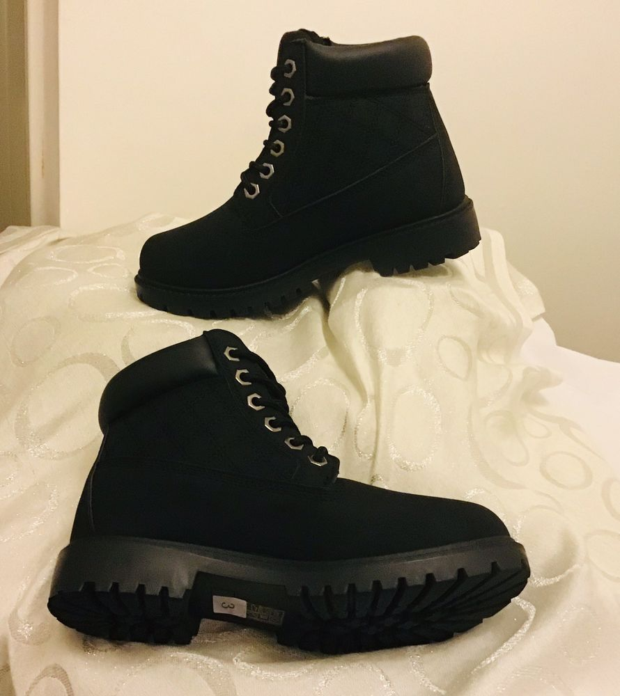 Womensgirls ** new** black quilted timber style boots uk