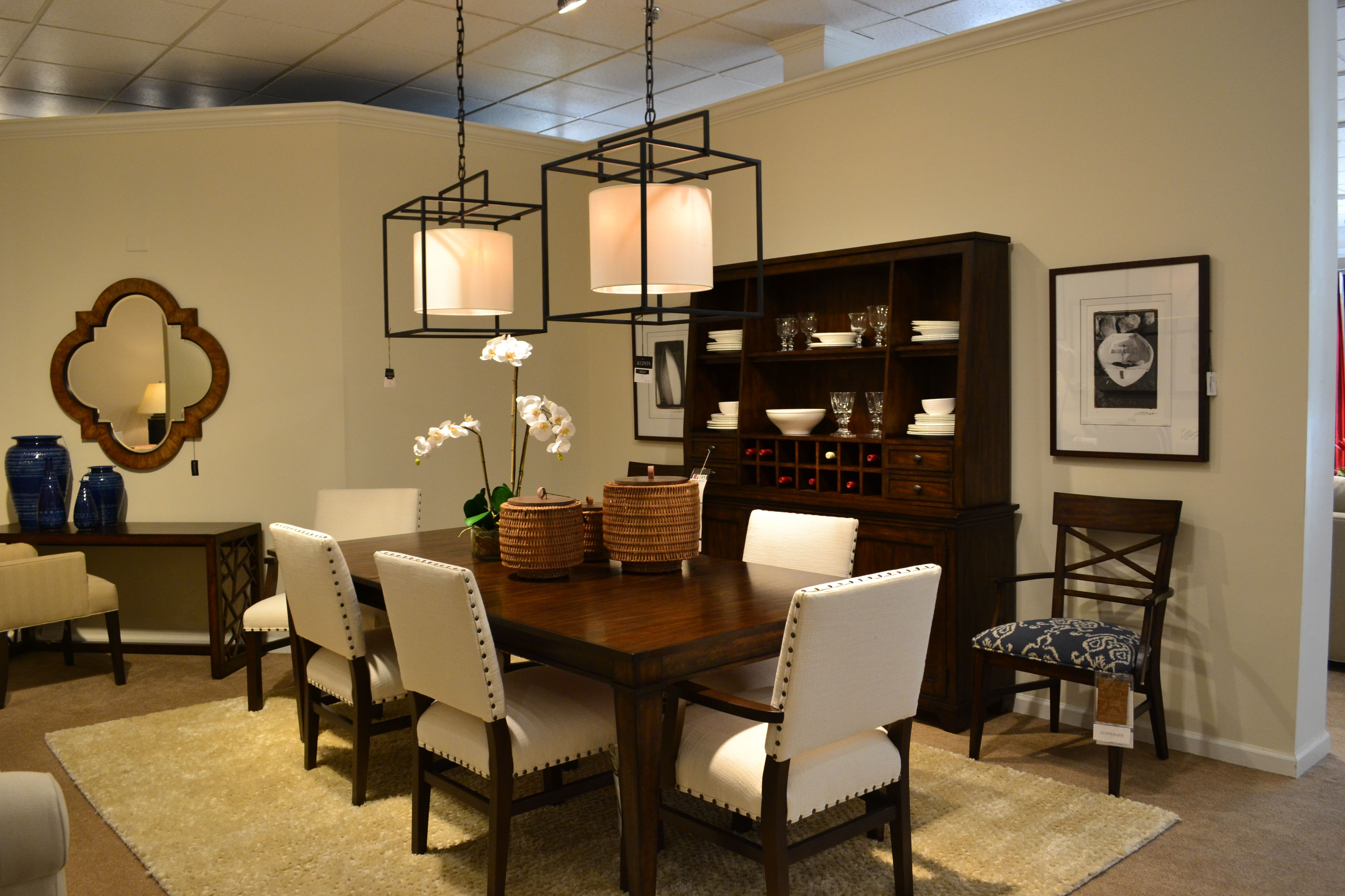 Ethan Allen Tango Dining Collection Shown In Java Finish With Christopher Table Blake Slipseat