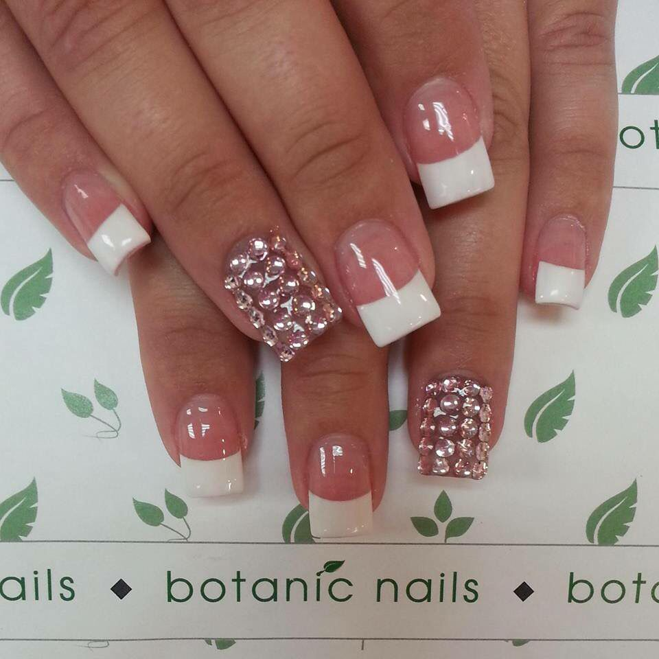 White French tips with rhyme stones | Nails ☺ | Pinterest