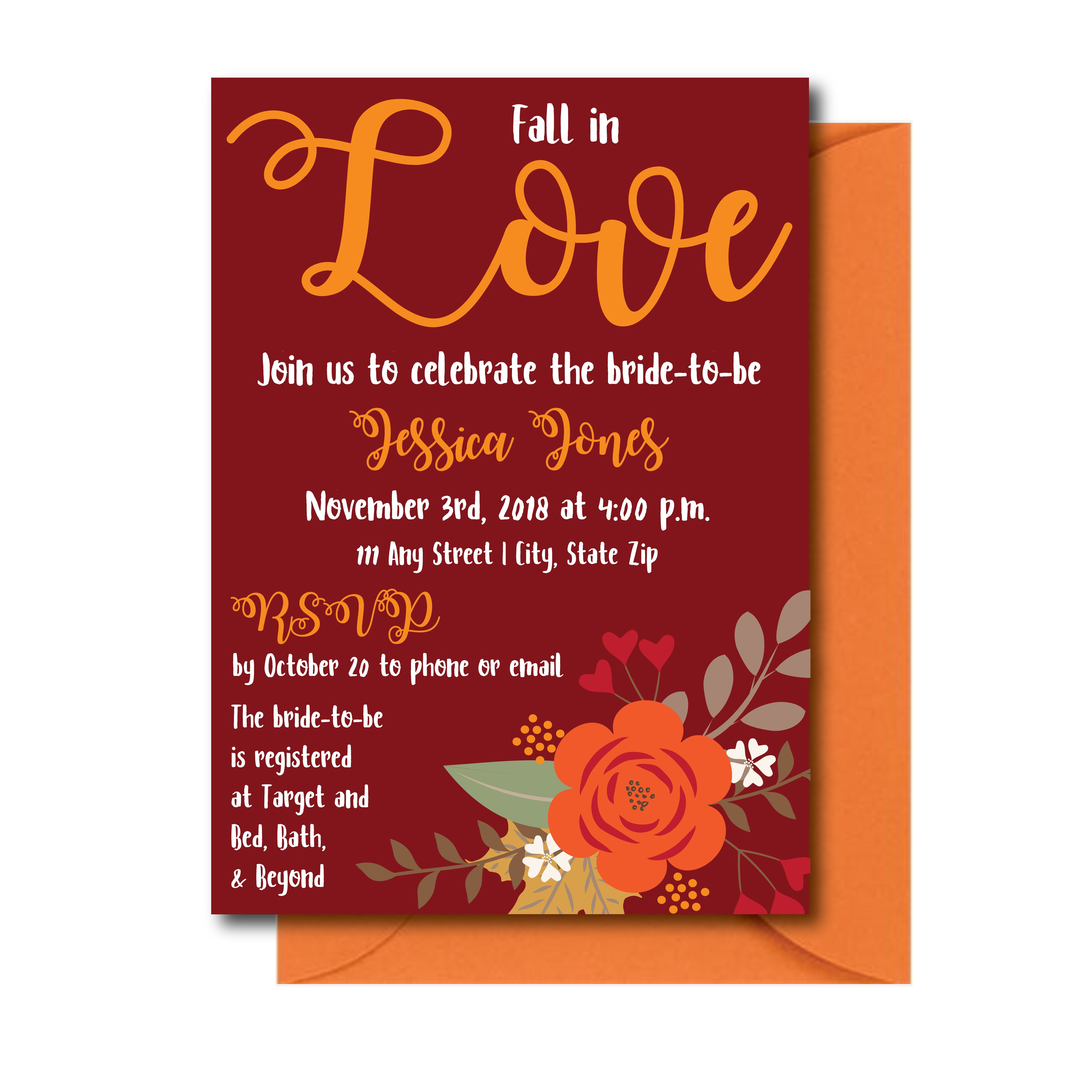 Maroon Fall Bridal Shower Invite. Plan the perfect bridal shower ...