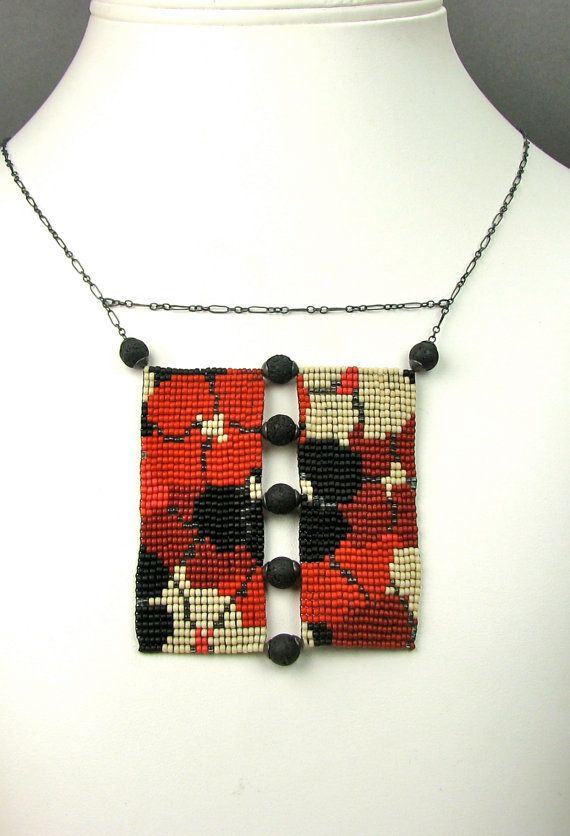Loom Beaded Necklace, red and black, Poppy Necklace, seed bead necklace,  loom beading, loom work, beaded poppies, handmade