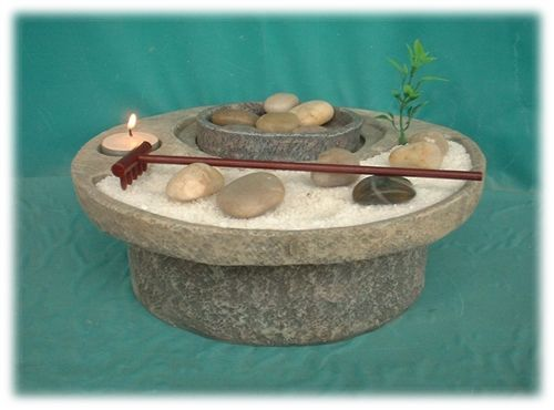 Oriental Zen Garden Water Fountain with Rake and Tea Light Candle Holder