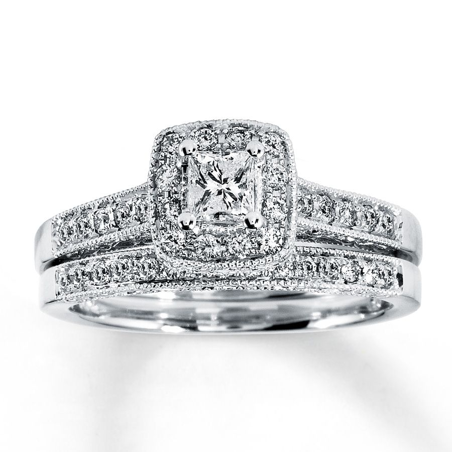 kay diamond bridal set 12 ct tw princess cut 14k white gold - Princess Cut Diamond Wedding Ring Sets