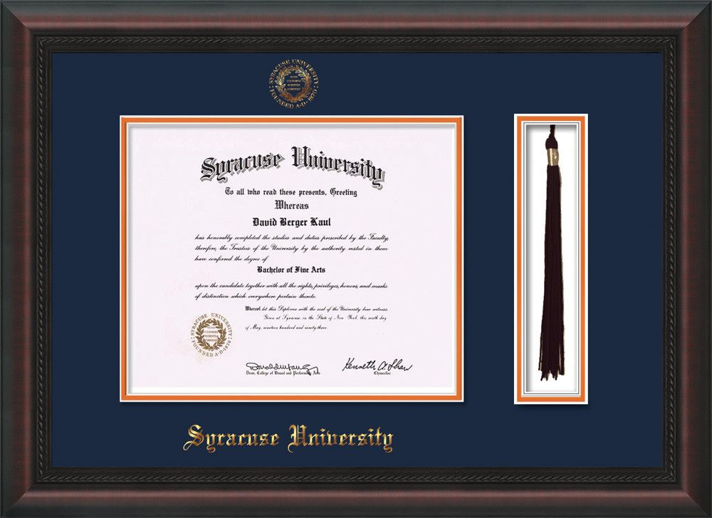 Syracuse University Diploma Frame-Mahog Braid-w/SU Tassel-Navy ...