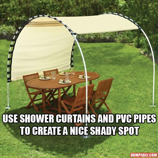 create your own shade using shower curtains and pvc pipes. No directions but a clever idea!