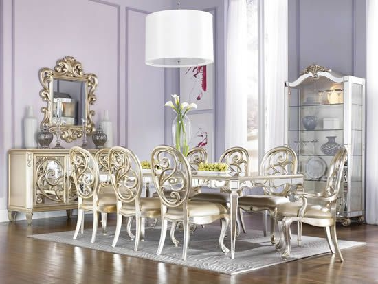 Jessica MCclintock Couture Mirrored Leg - Silver Leaf Dining Room ...