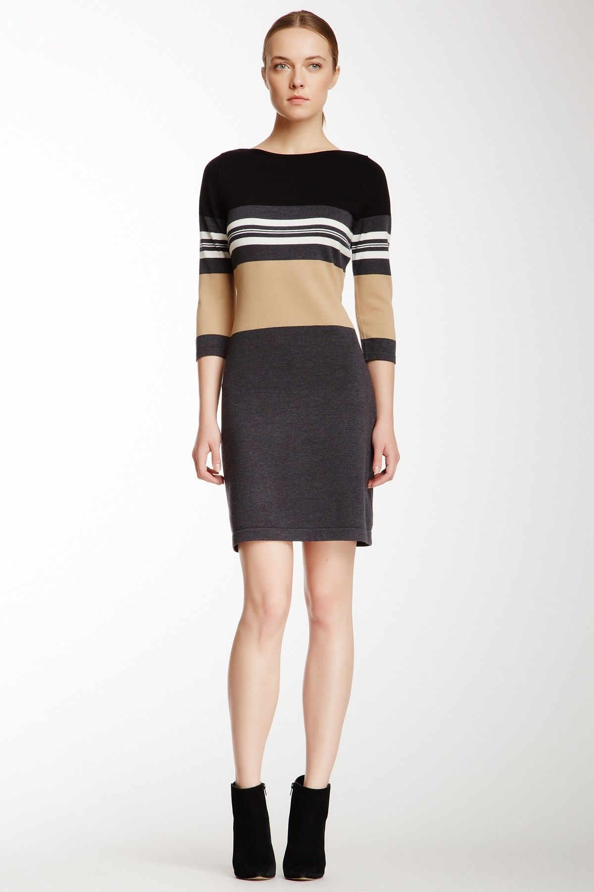 Marl color block sweater dress