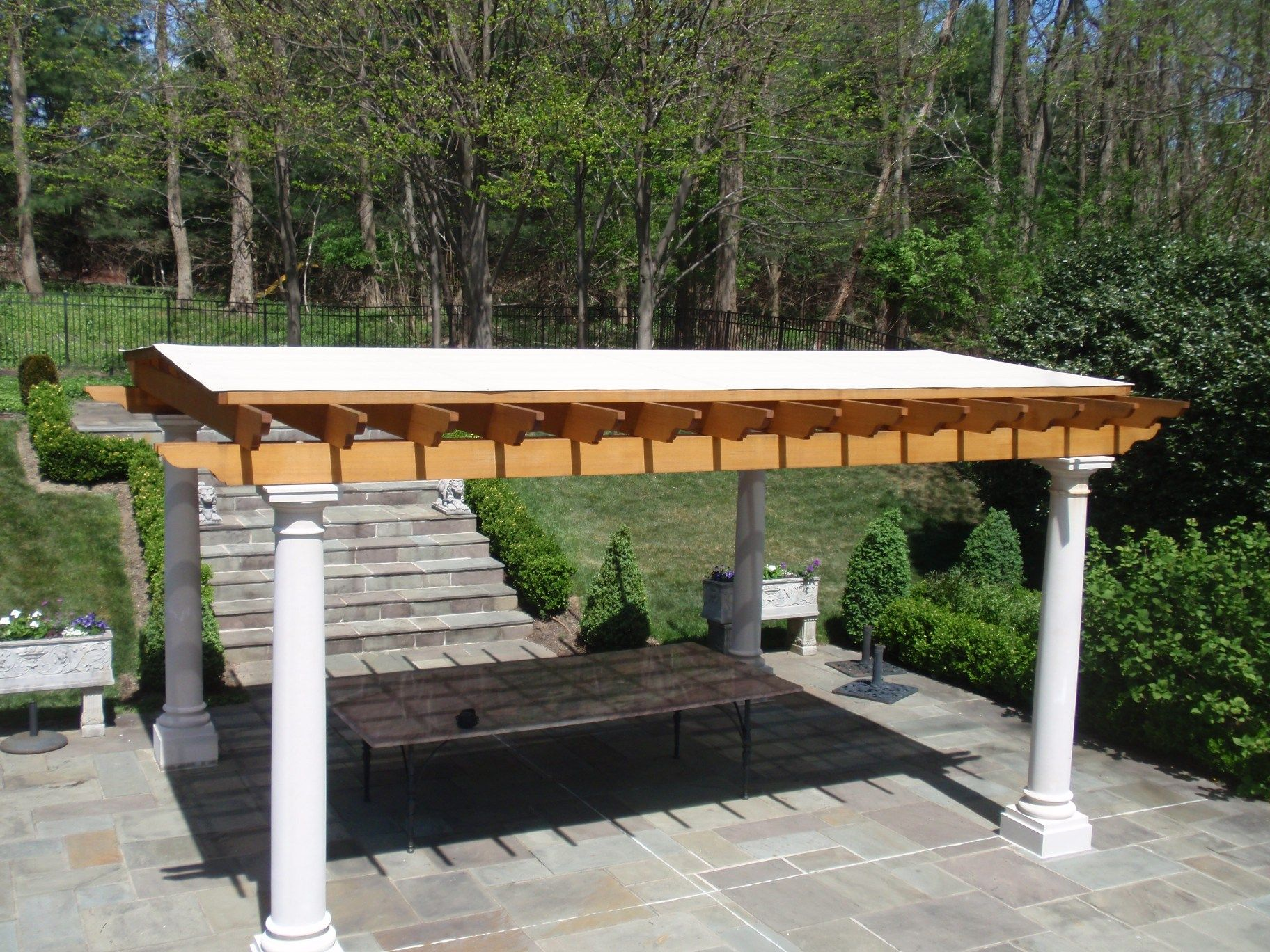 Exterior Design Agreeable Vinyl Pergola Covering Ideas Mixed With