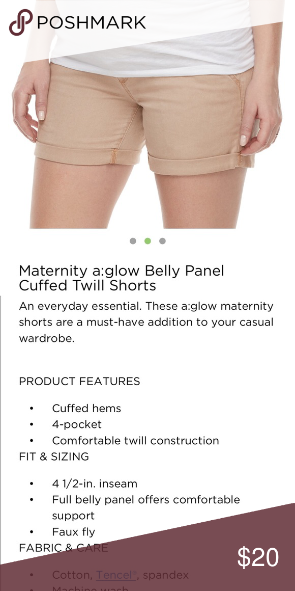 ace71ff7ef296 a:Glow Maternity Shorts Belly Panel Tan Twill Cuff a:Glow Maternity Shorts  with a Belly Panel comes in two colors this listing is the Tan pairs.
