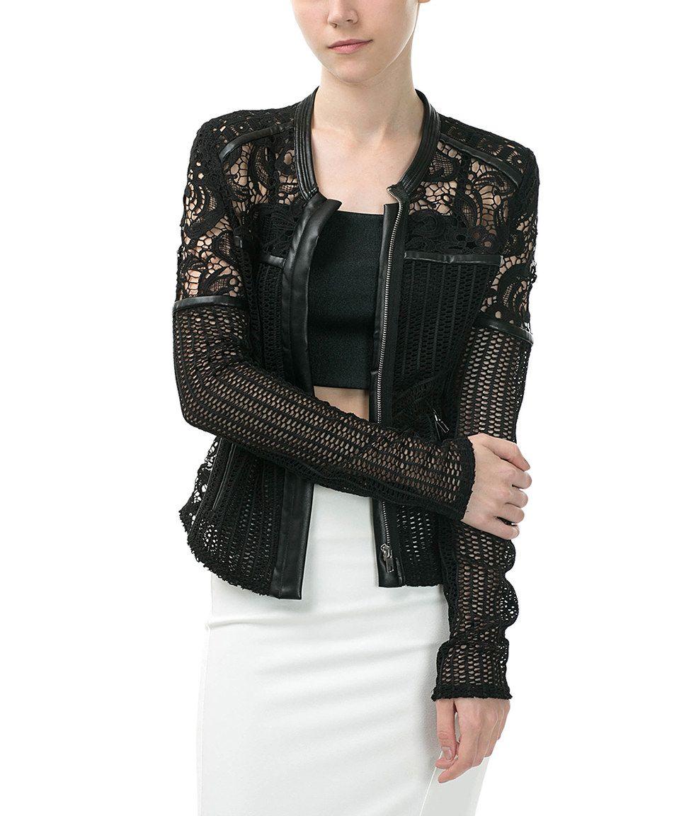 CQbyCQ Black Crochet Faux LeatherAccent Moto Jacket Blusas