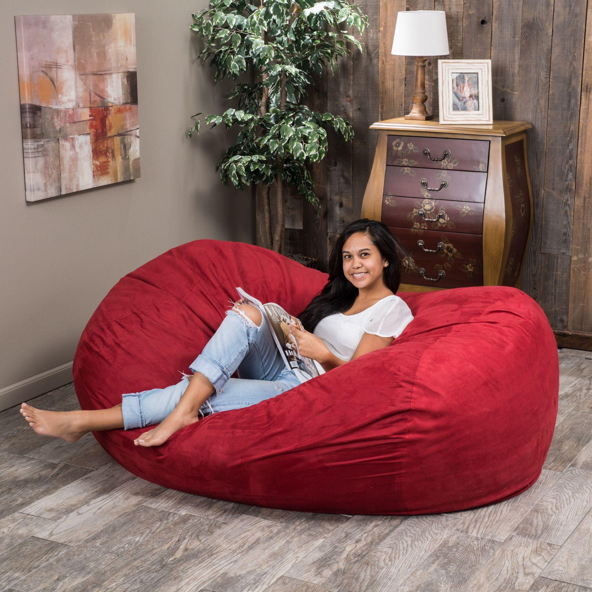 Haley Red 6 Ft Faux Suede Microfiber Bean Bag Bean Bag Chair