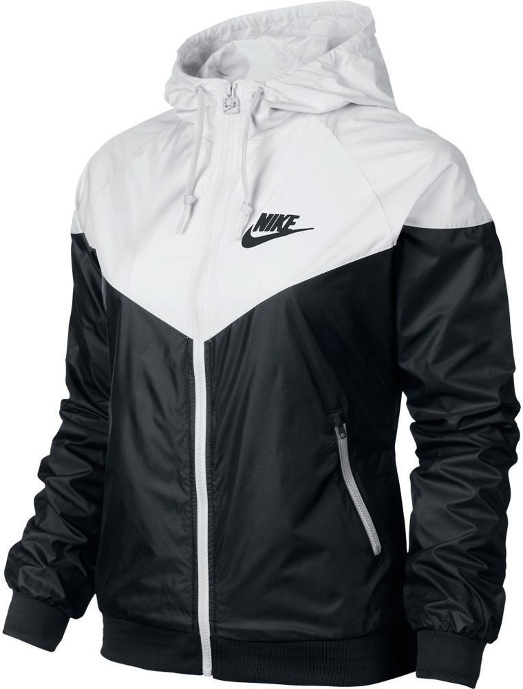 Nike WindRunner Women s Jacket Windbreaker Hoodie Black White 545909-011   Nike  Windrunner 681082b7e