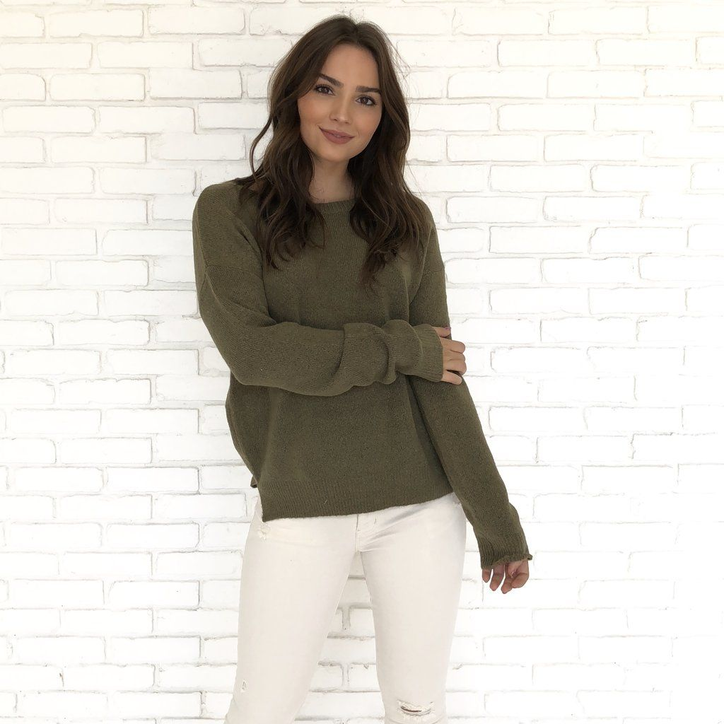 6ec89bcee0501a Cozy and Casual Knit Sweater in Olive | Appearance | Pinterest ...
