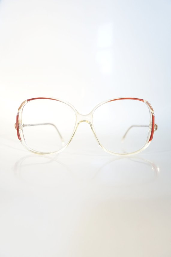 a581384e80 1980s Vintage Eyewear Deadstock Womens Oversized Clear Transparent 80s  Eighties Red Oxblood Burgundy