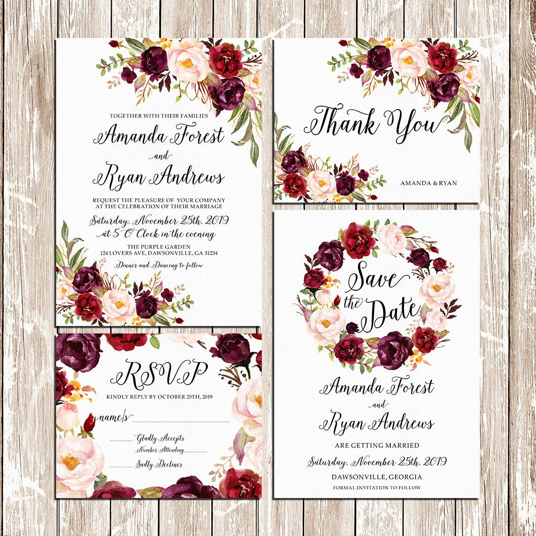 Printable Wedding Burgundy Purple and Pink by HappyLifePrintables