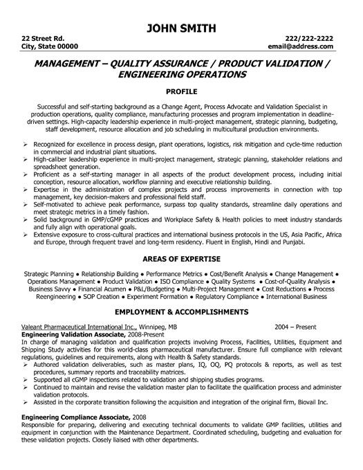 Sample Engineering Management Resume Click Here To Download This Quality Assurance Manager Resume .