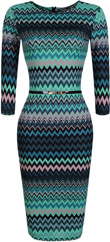 a049ebe5ca7b6 jeansian Women s Green Wavy Stripes Knee-length Pencil Dress with Belt  WKD193