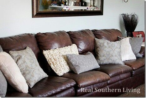 Leather Sofa With Throw Pillows