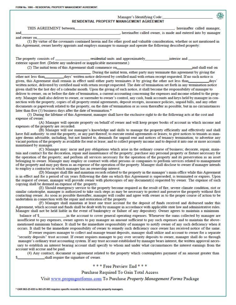 Oregon Property Management Agreement Property Management