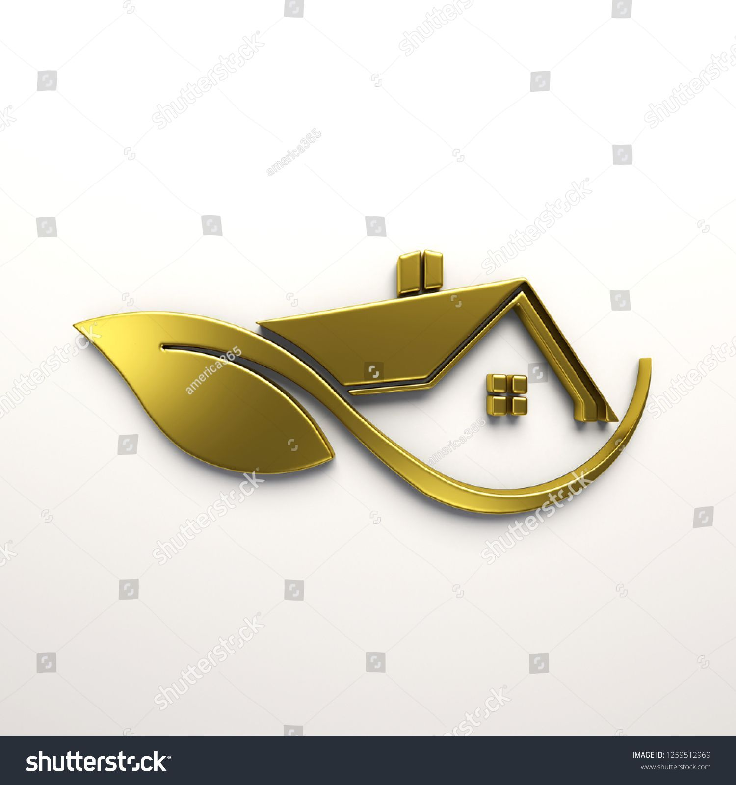 Eco Friendly Gold house Logo. 3D Render Illustration logo