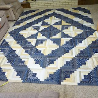 Midnight Blue and White Quilt Top