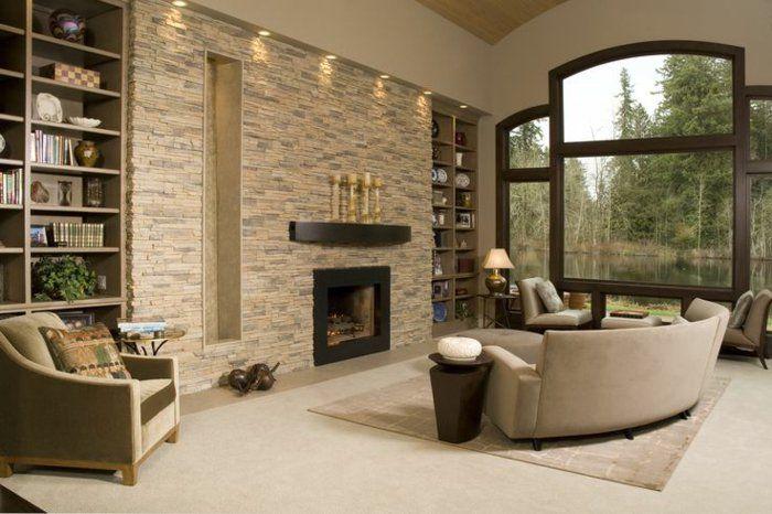 Steinwand Wohnzimmer - 43 Beispiele, wie Steine auf das Ambiente - wohnzimmer design steinwand