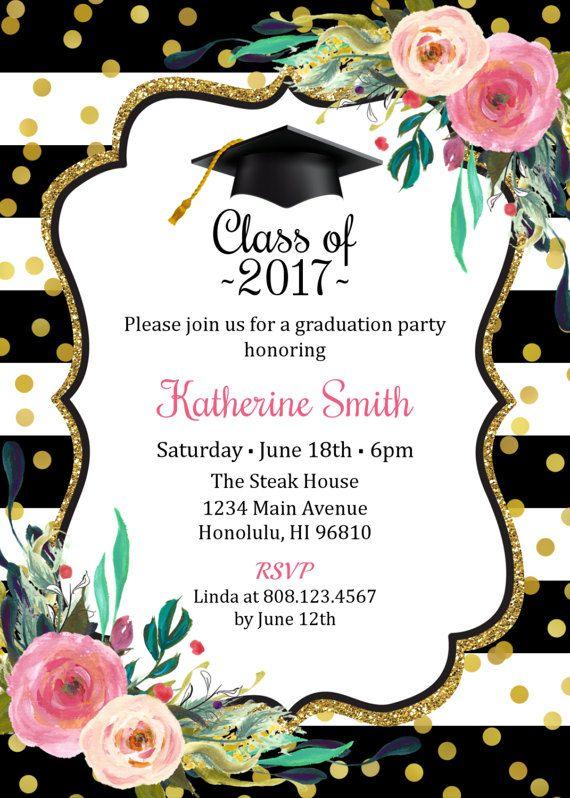 Graduation Invitation for girls, Graduation Party Invitation, High