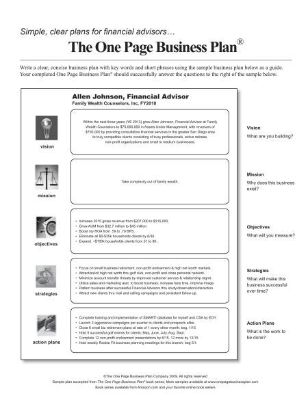 Example Plan u2013 Financial Advisor  Grenell Exit Planning - marketing action plan template