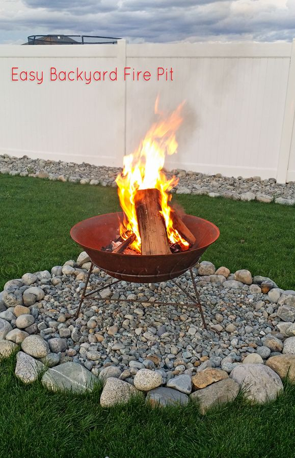 Easy Backyard Fire Pit In Less Than 30 Minutes It S So Important To Protect The Ground Under The Fire Pit From Easy Backyard Backyard Fire Fire Pit Backyard
