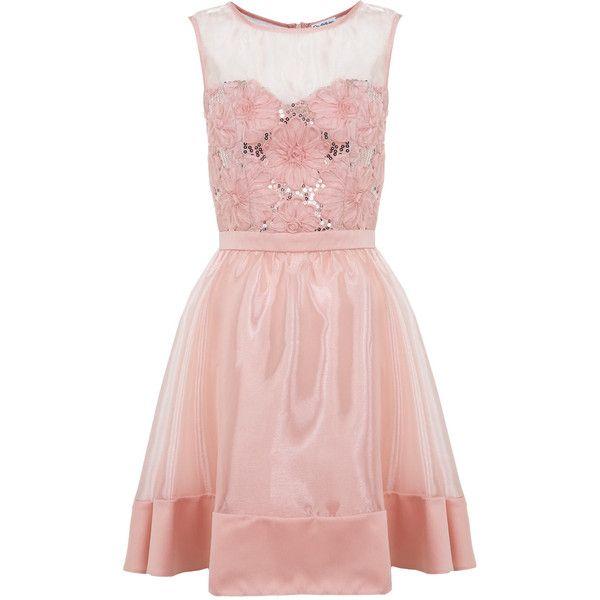 Miss Selfridge Nude 3D Flower Prom Dress - Polyvore | dress of ...
