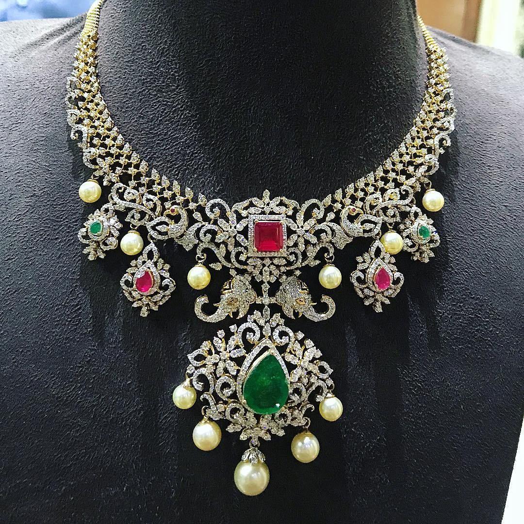 breathtaking heavy diamond necklace set designs jewellery