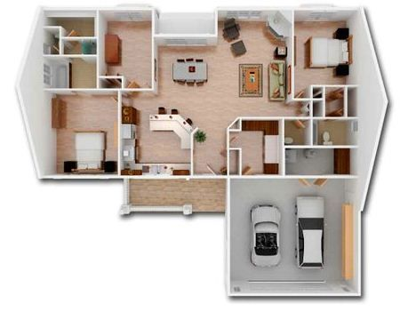Plano en 3d de casa moderna de una planta con dos for Planos de casas pequenas en 3d