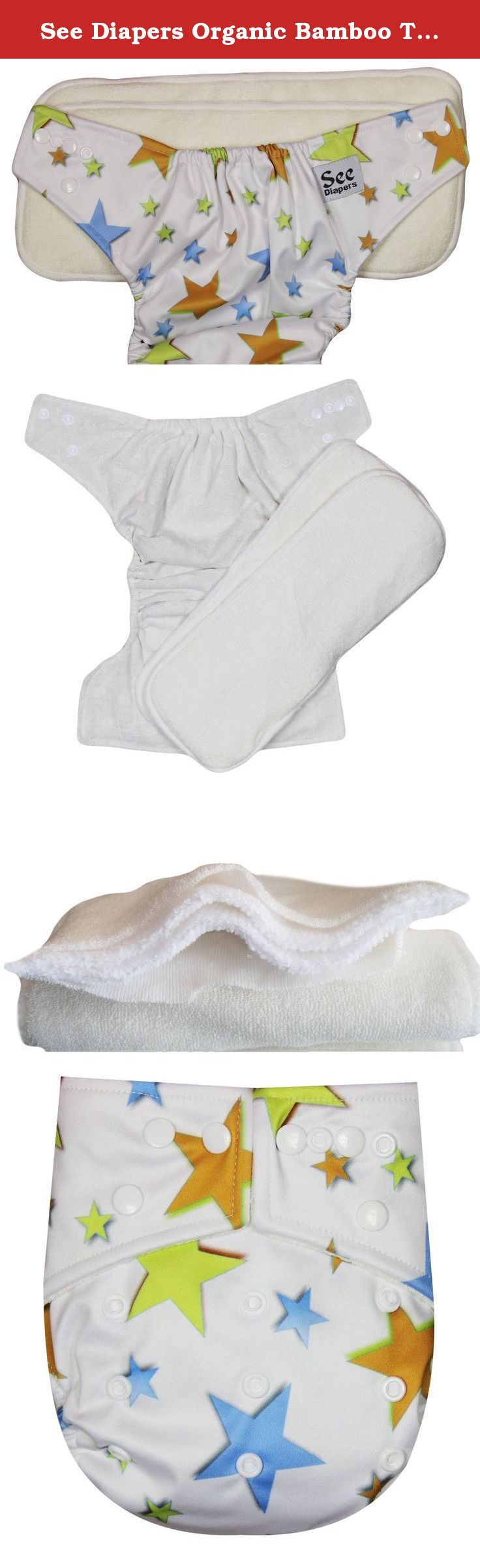 See Diapers Organic Bamboo Terry Baby Cloth Diaper - 2 Bamboo Inserts Stars. This Organic Bamboo One Size Pocket Diaper consist of 2 parts: a waterproof outer shell + 2 large Grade A Organic bamboo inserts. The outer shell is made of high quality, durable and soft fabric. Laminated with the new and improved Thermoplastic Polyurethane (TPU), a composition specifically adapted to produce non-porous membranes exhibiting waterproof and water vapor transmissible. The result is a high…