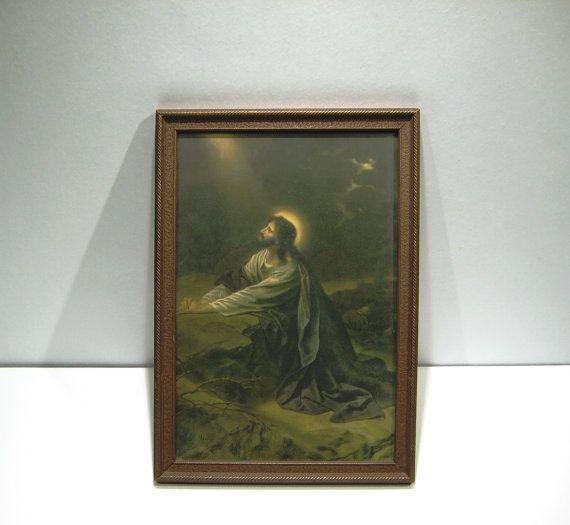 vintage jesus praying  garden  gethsemane print