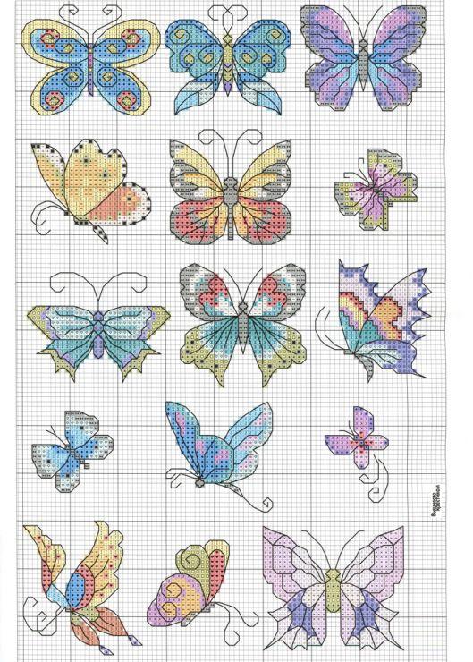 Patrón para bordar mariposas | Elvira | Pinterest | Butterfly, Cross ...
