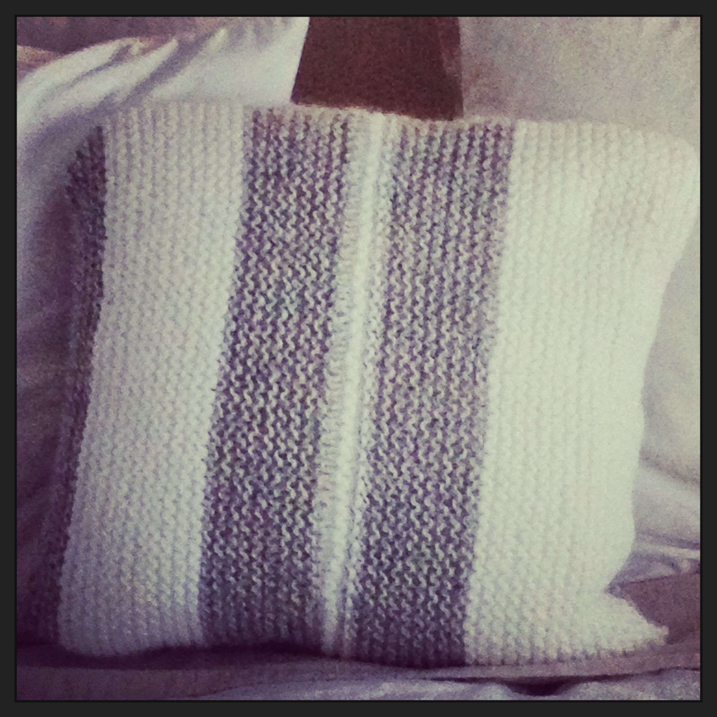 Yeah I can knit. Well just the basics. Love my new cushion which was knitted in top quality wool