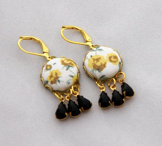 Set of yellow & black Liberty of London fabric button chandelier earrings