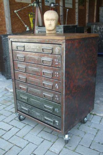 Wow Antiker Loft Industrie Design Stahlschrank Schubladenschrank Werkbank 1960 Stahlschrank Werkbank Schubladenschrank