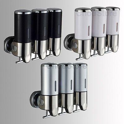 Bathroom Triple Shower Gel Dispenser Body Lotion Shampoo Liquid Soap Dispenser Ebay Shower Soap Dispenser Shampoo Dispenser Bathroom Soap Dispenser