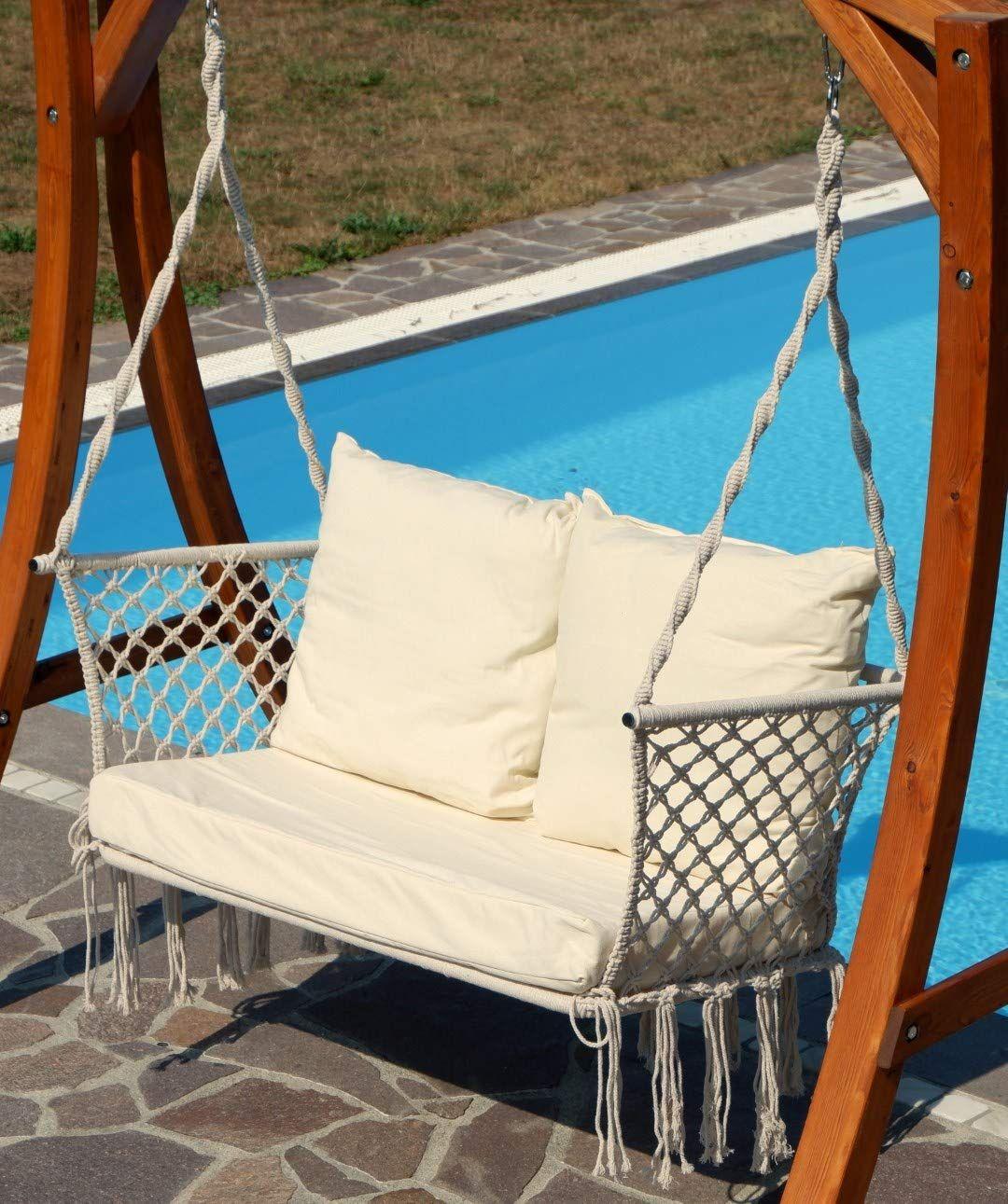 Trendyshop365 H/ängesessel mit Gestell Outdoor H/ängekorb f/ür Garten und Balkon Rot