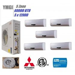 Ymgi 60000 Btu 5 Quint Zone Wall Mount Ductless Split Air Conditioner With Heat Pump Solar Air Conditioner House Air Conditioner Ductless Heating Cooling