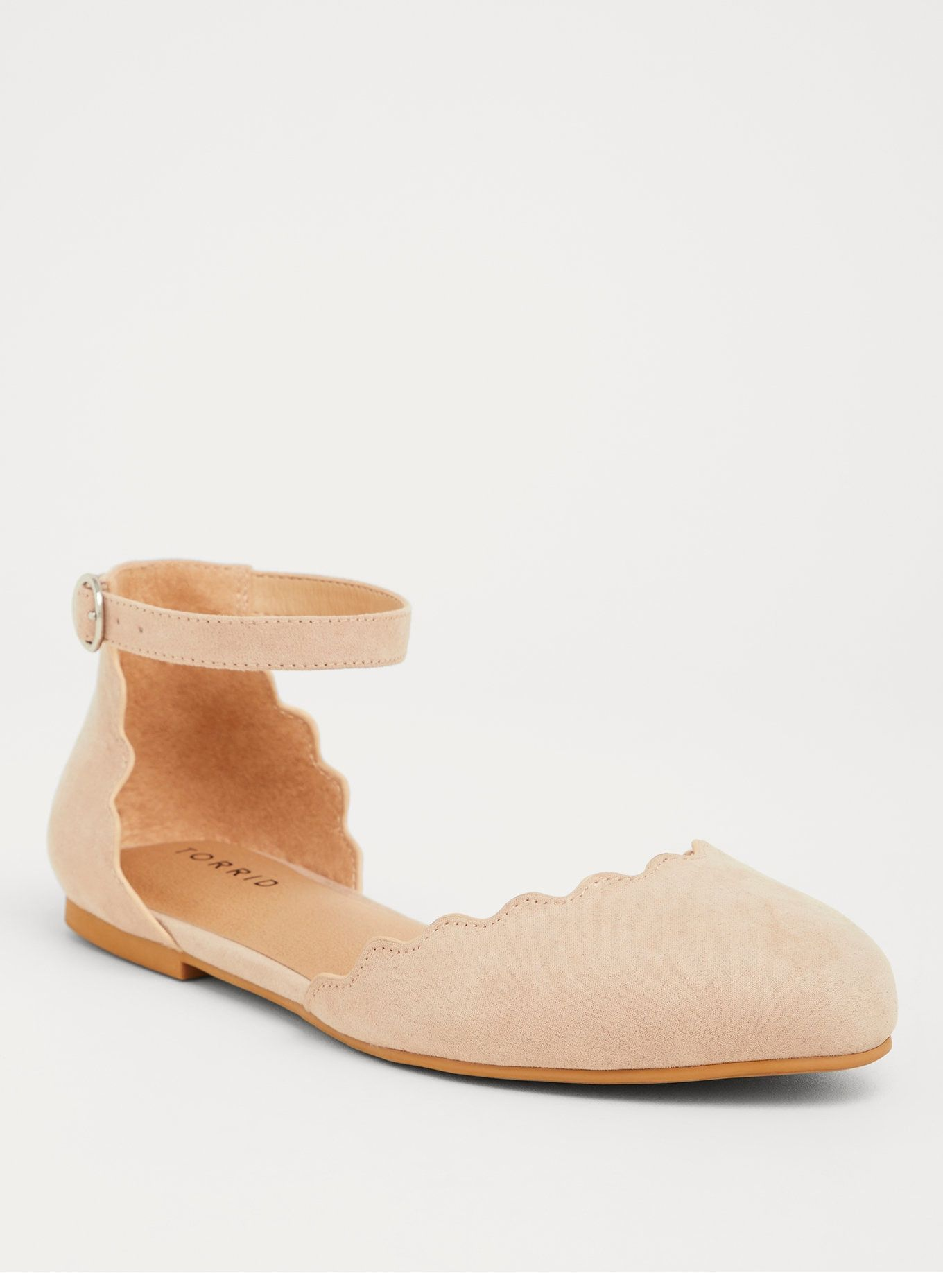 Taupe Faux Suede Ankle Strap Scallop