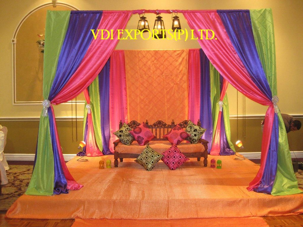 Mehendi Ceremony At Home : Wedding decoration theme indian dress accessories