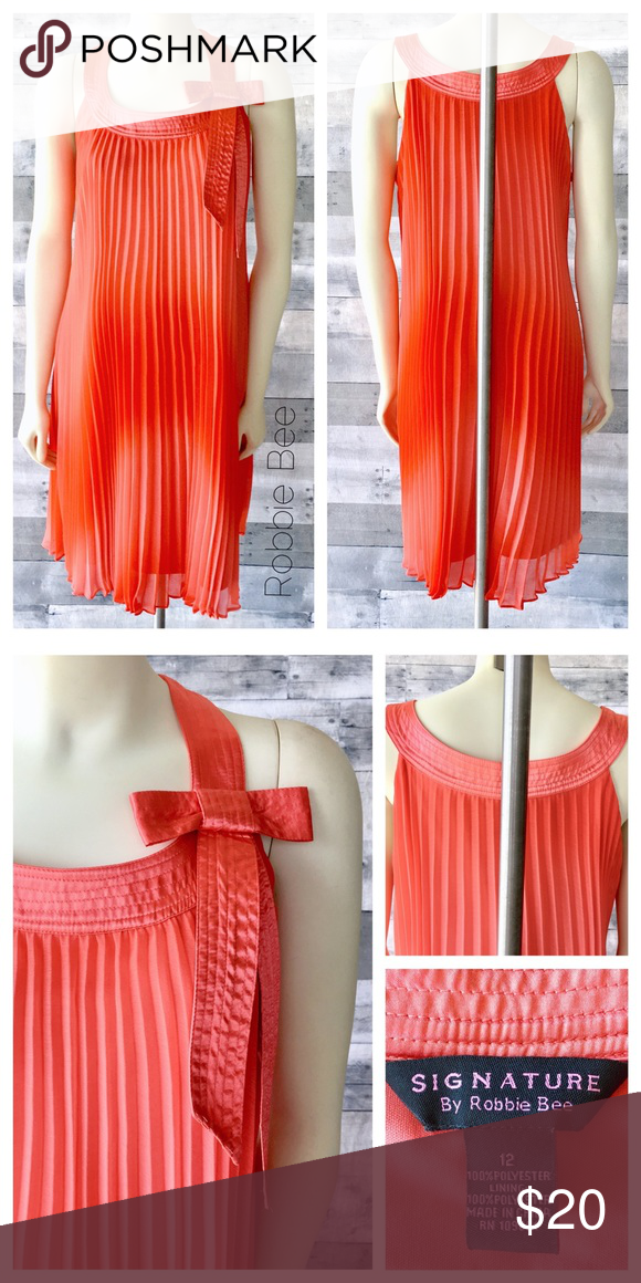 479d5d34b9d Lovely coral accordion pleat flowy dress silky bow A gorgeous coral silky  scoop neck with bow