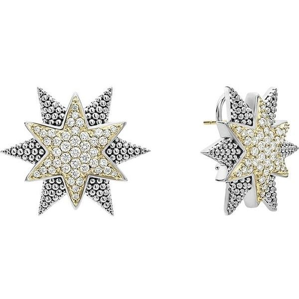 Lagos Sterling Silver & 18K Gold Star Stud Earrings with Diamonds FHX8G8MrT