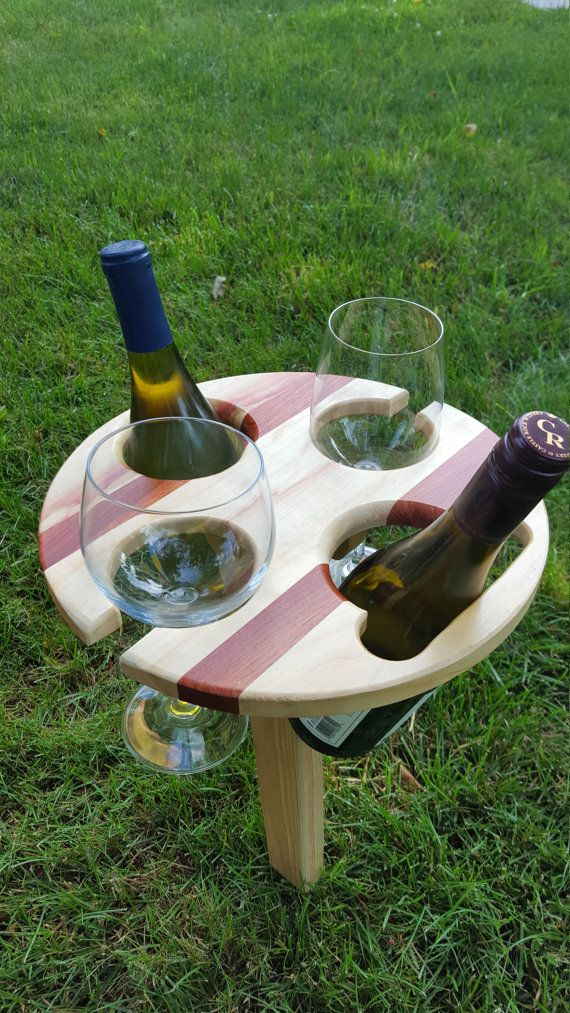 Folding Portable Wine Table Made To Hold 2 Bottles Red White